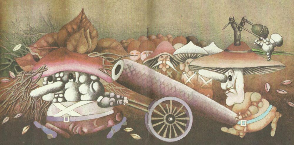 """Knygos """"Grybų karas"""" iliustracija"""