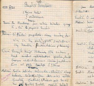 """Vienas iš S. Sondeckio literatūrinių bandymų  """"Gustis Kručas"""", sekimas pagal M. Valančių. 1939 m."""