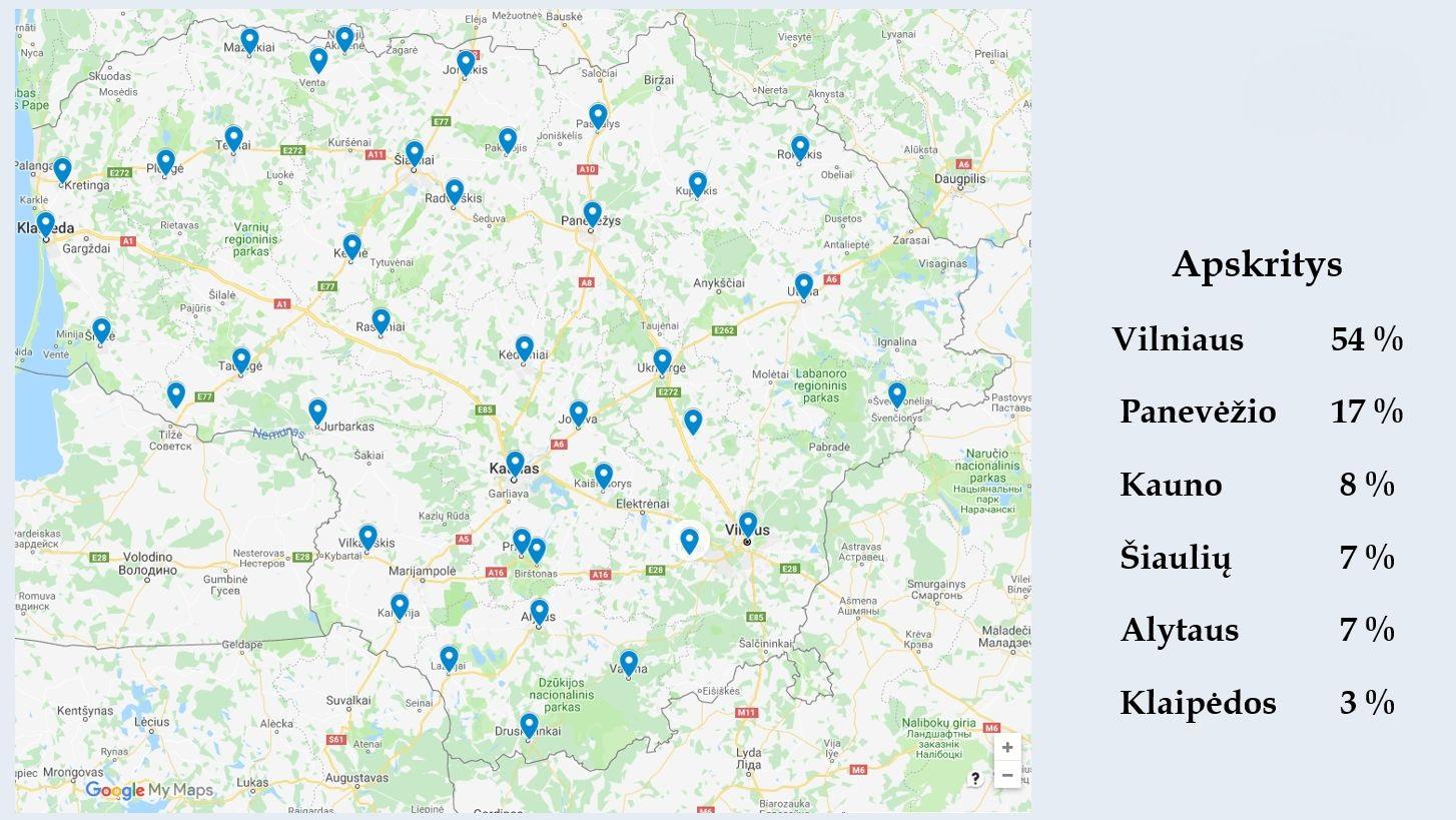 Žemėlapyje vaizduojama iš kurių Lietuvos vietovių sulaukta anketų