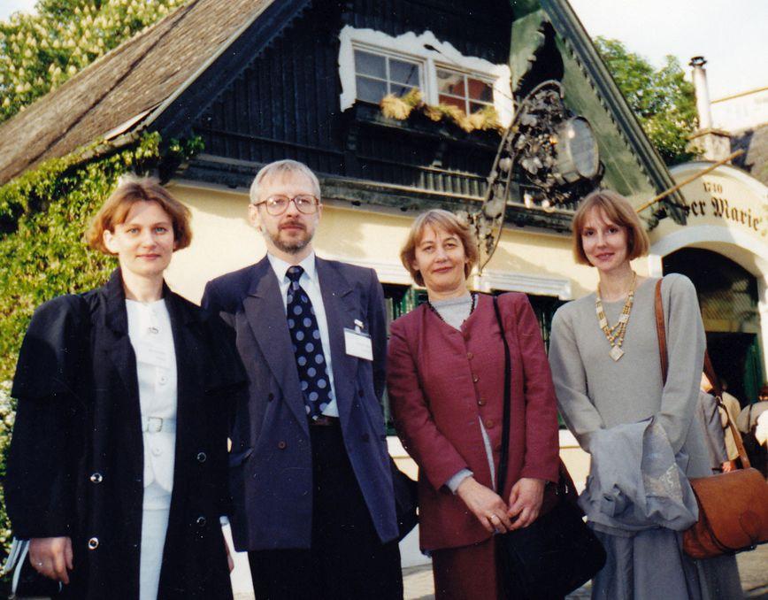 IBBY – UNESCO seminare Vienoje (Austrija). 1997 m. Iš kairės:  Nijolė Kuolienė, Kęstutis Urba, Aldona Augustaitienė, Silvija Tretjakova