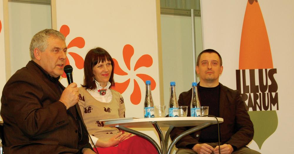 Iš kairės: S. Eidrigevičius, L. Dūdaitė, R. Rolia