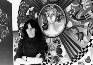 """Birutė Žilytė prie sienų tapybos ,,Pušelėje"""" (Visos nuotraukos iš asmeninio B. Žilytės archyvo)"""