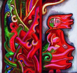 """Salomėjos Nėries knygos """"Eglė žalčių karalienė"""" viršelio dalis. Birutės Žilytės iliustr. 1989 m."""