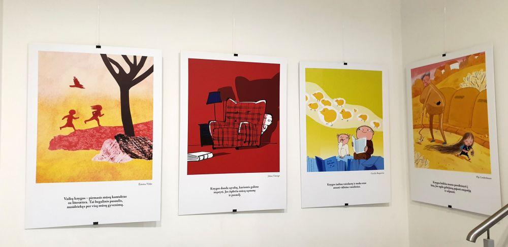 Švedų iliustruotojų parodos fragmentas