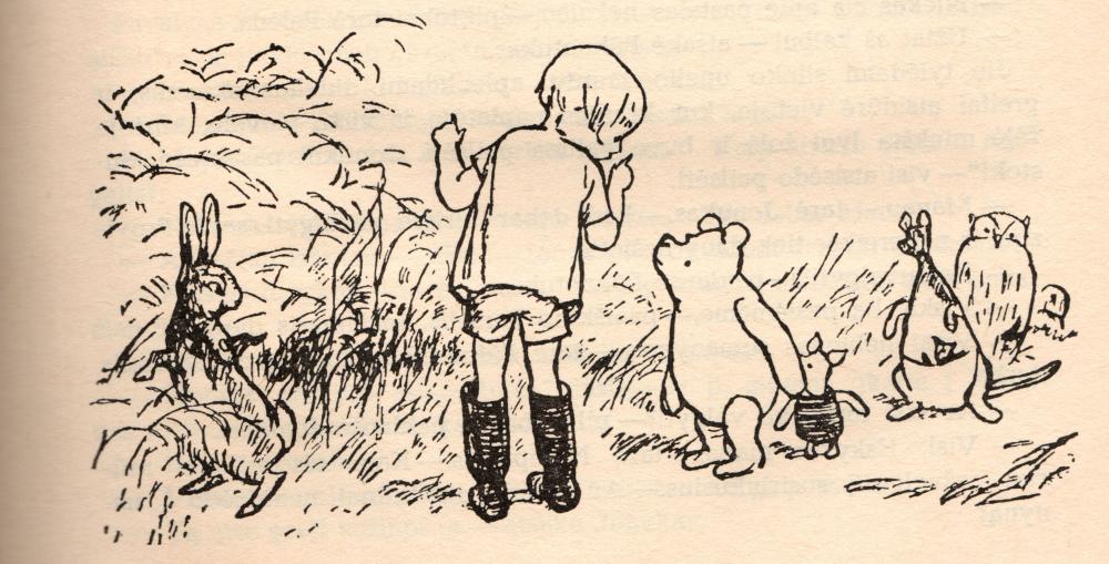 """Ernesto H. Šepardo iliustr. iš knygos """"Pūkuotuko pasaulis"""", 1984"""