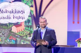 Kultūros ministras Mindaugas Kvietkauskas paskelbė vaikų Metų knygą. Nuotr. Vygaudo Juozaičio