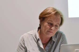 Jutta Bauer Vilniaus knygų mugėje 2018 m. Nuotr. Romos Kišūnaitės