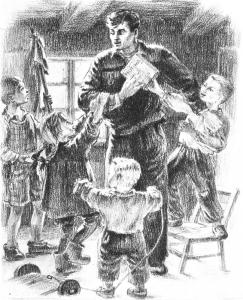 """V. Mozūriūnas """"Laužai prie upės"""" (1951 m.). A. Makūnaitės iliustr."""