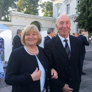Su vyru Broniumi Prezidento Gitano Nausėdos inauguracijos pokylyje. 2019 m.