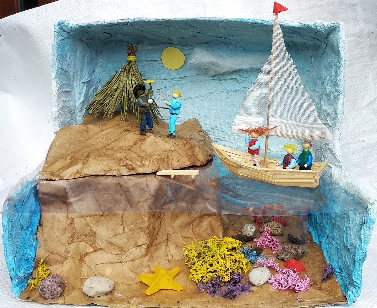 """Bernardo ir Gabrieliaus sukurta diorama pagal Astridos Lindgren knygą """"Pepė Ilgakojinė"""""""