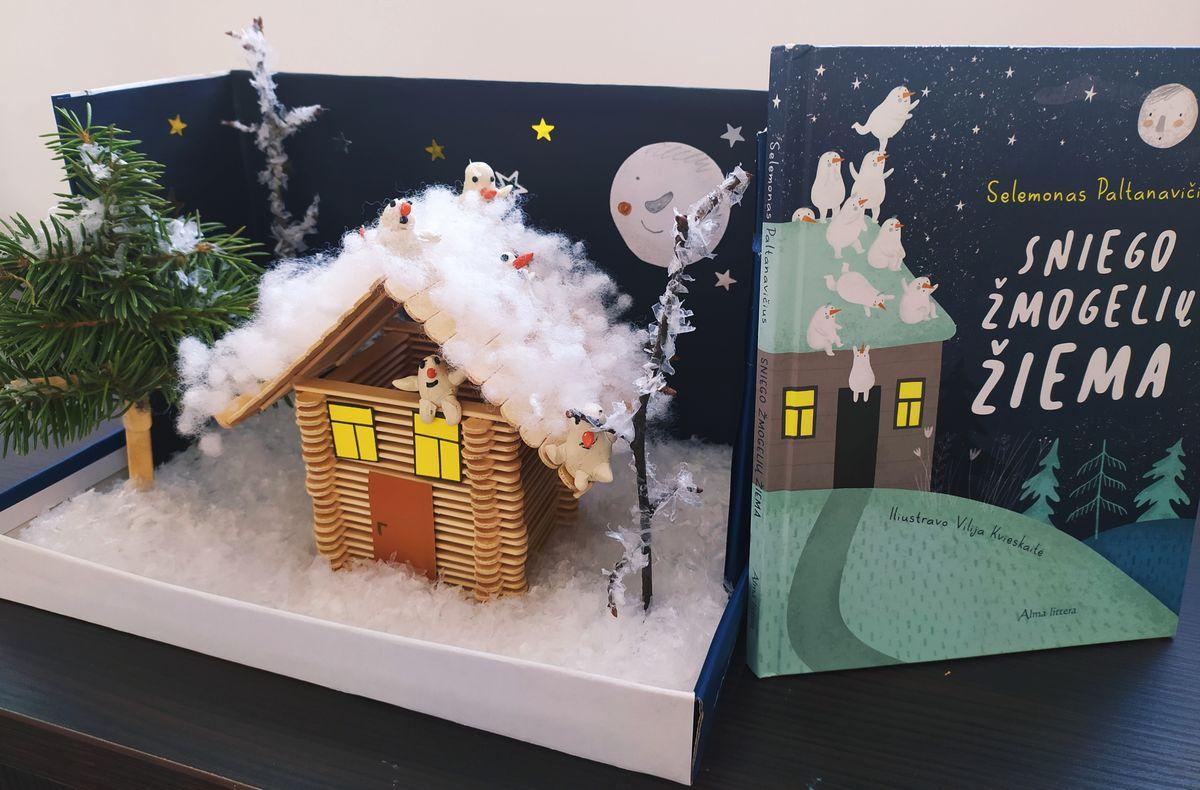 """Fausto sukurta diorama pagal Selemono Paltanavičiaus knygą """"Sniego žmogelių žiema"""""""
