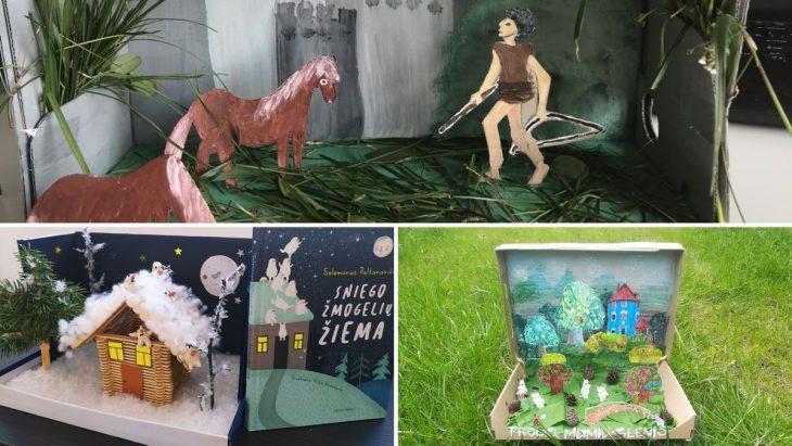 """Konkurso """"Pasaulis dėžutėje: literatūrinis konkursas visai šeimai"""" dalyvių sukurti darbai"""
