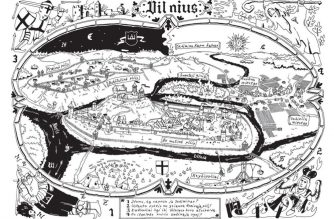 """Povilo Vincento Jankūno iliustracija Justino Žilinsko knygai """"Atgal į Vilnių!"""" – viena iš maršruto iliustracijų"""